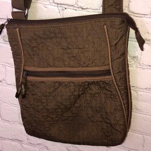 THIRTY ONE WOMENS SHOULDER BAG PURSE QUILTED BROWN